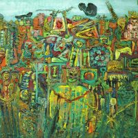 Enrique Tábara. Vegetación mágica (Selva). Técnica mixta sobre tela. Colección: Ministerio de Cultura y Patrimonio del Ecuador / Reserva MAAC. Crédito:Ricardo Bohórquez / MAAC