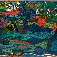 Paula Barragán. Jungla de papel II (2013). Collage en adobe ilustrador, impresión de pigmento sobre papel Moab. Crédito:Ricardo Bohórquez / MAAC