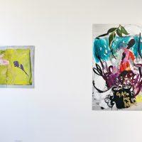 Alida Cervantes, Sin título (2019), óleo sobre aluminio, díptico; Sin título (2019), óleo, esmalte, aerosoles sobre aluminio. Foto por Andrea Vázquez