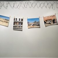 Erick Antonio Benitez, Sanctuary (2018). Archival Photographs, barb wire, clothesline rope and clothespin clips. All photographs are all captured during a research trip to the US-Mexico border. Photo Credit: Kay Baier