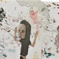 Carolina Muñoz, #somostrabajadores (2019). Óleo y spray sobre papel. Imagen cortesía de Isabel Croxatto Galería