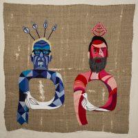 Chiachio & Giannone, Paz (tributo a Violeta Parra) (2016). Bordado a mano sobre arpillera. Imagen cortesía de Isabel Croxatto Galería