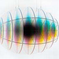 Felipe Pantone, Subtractive Variability Dimensional 4. 120x80x80cm. UV paint on PMMA.
