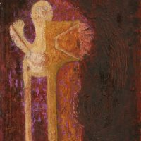Rufino Tamayo (Mexican, 1899 – 1991) El Hombre (The Man), 1962. Oil on canvas. Gift of Mrs. Charles Pechenik in memory of Charles Pechenik, 80.36 © 2019 Tamayo Heirs / Mexico / Licensed by VAGA at Artists Rights Society (ARS), NY