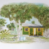 Nastassia Pratt, Adelaide Village House I (2020), watercolor and paper, 20