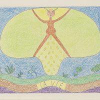 Margarita Azurdia, Rencontres II (La vie) (1980). Tinta y crayón. Colección privada