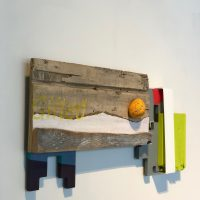 Andres Ferrandis, Gifted (2020). Acrylic on wood, polyester, objet trouvé, a painted stone and aluminum. Image courtesy of Ruiz-Healy Art