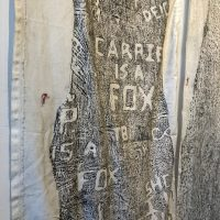 Katie Pell, The Woods. Carrie is a Fox (detail) (2008). Charcoal on fabric and thread. Image courtesy of Ruiz-Healy Art