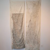 Katie Pell, works from The Woods Series (2008). Charcoal on fabric and thread. Image courtesy of Ruiz-Healy Art