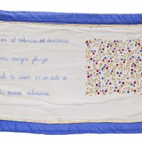 En el silencio del descanso . . . (In the silence of my rest . . .), c. 1996. Embroidery on fabric, 18 × 21 inches (43 × 74 cm). Collection of Raúl Naón, Buenos Aires. © Estate of the Artist, Familia Feliciano Centurión