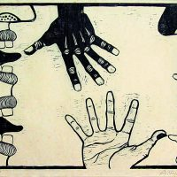 Antonio Henrique Amaral, Diálogo frustrado (1967). Woodcut. Image courtesy ofInstituto Tomie Ohtake