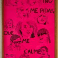 ¡No me pidas que me calme, papá!. America. Tinta sobre cartulina, 48 x 32.5 cm, 2020. Imagen cortesía deUNIÓN (espacio para artistas)