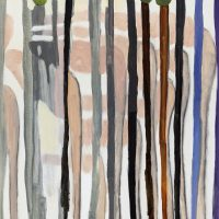 Juan Tessi, Figuras en el bosque (2020). Óleo sobre tela