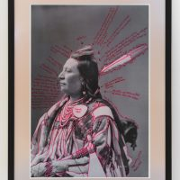 Wendy Red Star, Alaxchiiaahush/Many War Achievements/Plenty Coups (2014). 1880 Crow Peace Delegation in Washington D.C., original photograph by the Department of the Interior and the Bureau of Ethnology. Archival pigment print on photo paper and red ink