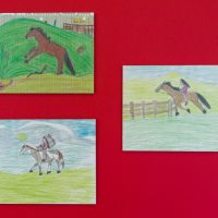 Wendy Red Star childhood drawings, c. 1990s. Reproductions, 2020