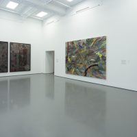 Installation view, RELATIONS: Diaspora and Painting, 2020, PHI Foundation. From left to right: Bharti Kher, Speaking in tongues, 2012. Courtesy of the artist and Galerie Perrotin; Julie Mehretu, Mumbo Jumbo, 2008. Astrup Fearnley Collection; Frank Bowling, Bunch, 1979/2012. Courtesy of the artist, Alexander Gray Associates, New York; Marc Selwyn Fine Art, Los Angeles © PHI Foundation for Contemporary Art, photo: Richard-Max Tremblay