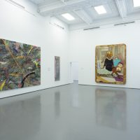 Installation view, RELATIONS: Diaspora and Painting, 2020, PHI Foundation. From left to right: Julie Mehretu, Mumbo Jumbo, 2008. Astrup Fearnley Collection; Frank Bowling, Bunch, 1979/2012. Courtesy of the artist, Alexander Gray Associates, New York; Marc Selwyn Fine Art, Los Angeles; Mickalene Thomas, I Learned the Hard Way, 2010. The Montreal Museum of Fine Arts, Purchase, the Museum Campaign 1988-1993 Fund © PHI Foundation for Contemporary Art, photo: Richard-Max Tremblay