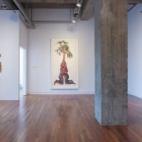 Installation view, RELATIONS: Diaspora and Painting, 2020, PHI Foundation. From left to right: Shanna Strauss, Eliza, 2019. Courtesy of the artist; Firelei Báez, Ooloi Ciguapa (mass pedigrees of masterpieces unsold), 2018; Firelei Báez, Years of holding your tongue, 2018. Courtesy of Rennie Collection, Vancouver © PHI Foundation for Contemporary Art, photo: Richard-Max Tremblay
