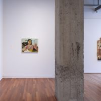 Installation view, RELATIONS: Diaspora and Painting, 2020, PHI Foundation. From left to right: Maia Cruz Palileo, Passing Clouds, 2019. Collection of Monique Meloche and Evan Boris; Maia Cruz Palileo, Afterward, 2019. Collection of Young-Abraham; Shanna Strauss, Bee-keeper, 2019. Courtesy of the artist © PHI Foundation for Contemporary Art, photo: Richard-Max Tremblay
