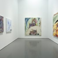 Installation view, RELATIONS: Diaspora and Painting, 2020, PHI Foundation. From left to right: Manuel Mathieu, Imaginary Landscape, 2020; St-Jak 3, 2020. Courtesy of the artist; The Entrance, 2020. Collection of Sylvi Plante and Neil Wiener; Untitled, 2020. Courtesy of the artist © PHI Foundation for Contemporary Art, photo: Richard-Max Tremblay