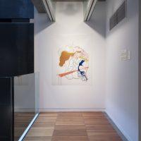 Installation view, RELATIONS: Diaspora and Painting, 2020, PHI Foundation. Moridja Kitenge Banza, Chiromancie #9, No.6, 2019. Collection of Mathilde Baril-Jannard © PHI Foundation for Contemporary Art, photo: Richard-Max Tremblay