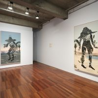 Installation view, RELATIONS: Diaspora and Painting, 2020, PHI Foundation. From left to right: Marigold Santos, shroud (in threadbare light) 2, 2020; shroud (in threadbare light) 1, 2020. Courtesy of the artist © PHI Foundation for Contemporary Art, photo: Richard-Max Tremblay
