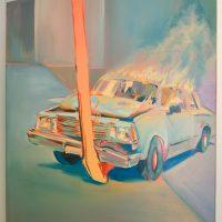 Sin título (Stunt). Santiago Mora. Óleo sobre tela. 60 x 90 cm, 2020. Imagen cortesía deUNIÓN (espacio para artistas)