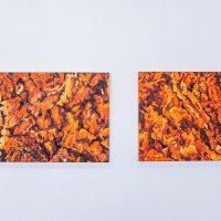 Yiyo Tirado Rivera, Desplazamiento II (Puerta de Tierra) y Desplazamiento III (Puerta de Tierra) (2020). Óleo sobre madera. Crédito del artista