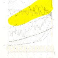 EPK2. Acrílico sobre Impresión Láser en papel, 31x47 cm, serie de 13. Partitura de la 'sinfonía digital paramétrica' de 7 horas, que hace sonar bases de datos correspondientes a información planetaria (Población, T°, CO2, Overshoot Day) desde inicios de la revolución informática, industrial y millones de años atrás. Colaboración con Emilio Rojas (físico, músico) y Constanza Valenzuela (Compositora)