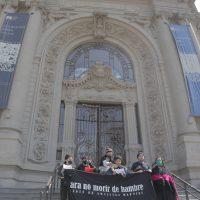 Frente de Artistas Mapuche (FAM). Para no morir de hambre. Acción artística de protesta, frontis del Museo Nacional de Bellas Artes, Santiago, Gulu Mapu (Chile), 3 de septiembre de 2020. Registro fotográfico digital por Claudia del Fierro